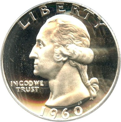 Image of 1960 25c PCGS Proof 67 DCameo
