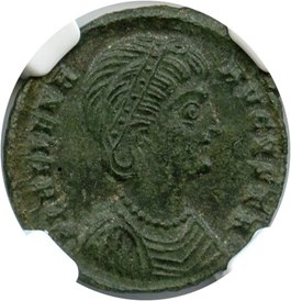 Image of AD 324-328/30 Helena AE3 (Bi Nummus) NGC Ch AU (Ancient Roman) Strike:5/5; Surface 4/5
