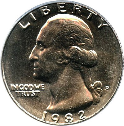 Image of 1982-D 25c PCGS MS65