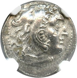 Image of 336-323 BC Alexander III AR Drachm NGC AU (Ancient Greek) Strike:4/5; Surface 2/5