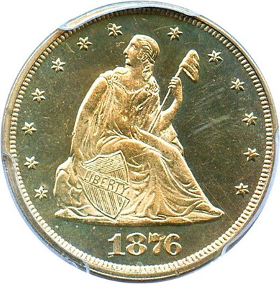 Image of 1876 20c PCGS/CAC Proof 64 Cameo