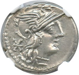 Image of 134 BC Ti.Minucius C.f.Augurinus AR Denarius NGC AU (Ancient Roman) Strike:5/5; Surface 5/5