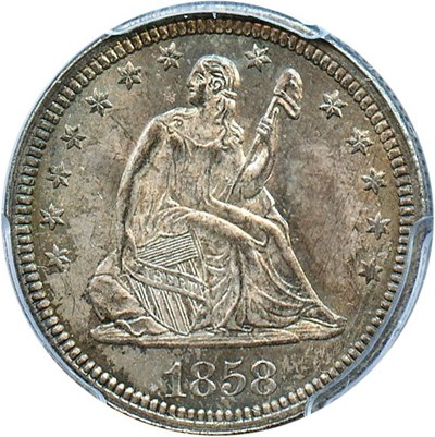 Image of 1858 25c PCGS/CAC MS65 - No Reserve!