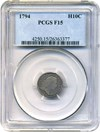 Image of 1794 H10c PCGS F15 (LM-3) * Key First-Year Half Dime Issue *