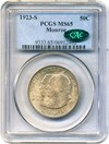 Image of 1923-S Monroe 50c PCGS/CAC MS65 - No Reserve!