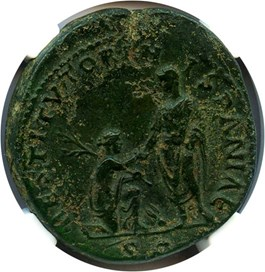 Image of 117-138 AD Hadrian AE Sestertius NGC Ch XF  (Ancient Roman) Strike:4/5; Surface 3/5
