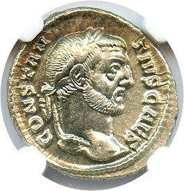 Image of AD 305-306 Constantius I AR Argenteus NGC AU (Ancient Roman) Strike:5/5; Surface 5/5