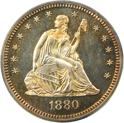 Image of 1880 25c PCGS/CAC Proof 64 - No Reserve!