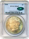 Image of 1890 $1 PCGS/CAC MS65 - Colorful Toning - No Reserve!