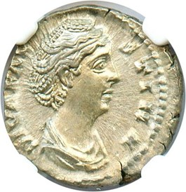 Image of AD 138-140/1 Faustina Sr. AR Denarius NGC Ch AU (Ancient Roman) Strike:5/5; Surface 4/5