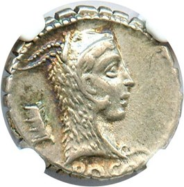 Image of 64/59 BC L.Rosc Fabatus Denarius Serratus NGC AU (Ancient Roman) Strike:5/5; Surface 5/5