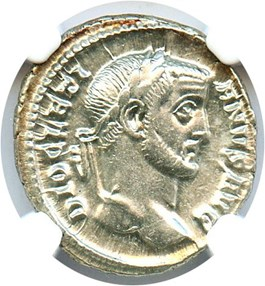 Image of AD 284-305 Diocletian AR Argenteus NGC AU (Ancient Roman) Strike:5/5; Surface 5/5