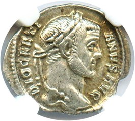 Image of AD 284-305 Diocletian AR Argenteus NGC Ch XF (Ancient Roman) Strike:5/5; Surface 5/5