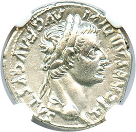 Image of AD 14-37 Tribute Penny Tiberius Denarius NGC AU (Ancient Roman) Strike:5/5; Surface 4/5