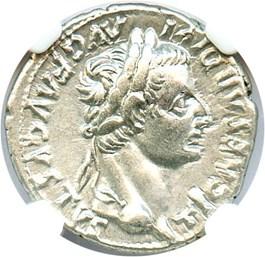 Image of AD 14-37 Tribute Penny Tiberius Denarius NGC AU (Ancient Roman) Strike:5/5; Surface 4/5