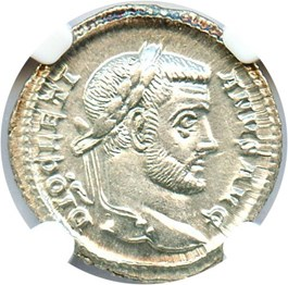 Image of AD 284-305 Diocletian AR Argenteus NGC Ch AU (Ancient Roman) Strike:4/5; Surface 5/5