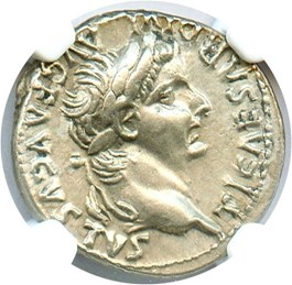 Image of AD 14-37 Tribute Penny Tiberius Denarius NGC XF (Ancient Roman) Strike:5/5; Surface 4/5