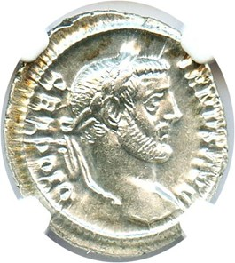Image of AD 284-305 Diocletian AR Argenteus NGC Ch AU (Ancient Roman) Strike:5/5; Surface 4/5