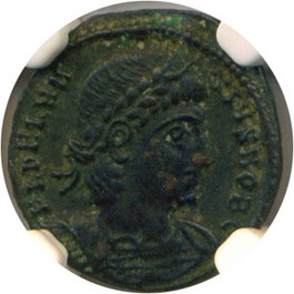 Image of AD 335-337 Delmatius AE4 (Bi Nummus) NGC XF(Ancient Roman) Strike:4/5; Surface 4/5