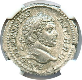 Image of 198-217 AD Caracalla AR Denarius NGC Choice XF (Ancient Roman) Strike:5/5; Surface 4/5