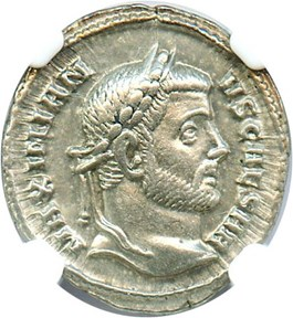 Image of AD 305-311 Galerius AR Argenteus NGC Ch XF (Ancient Roman) Strike:5/5; Surface 5/5