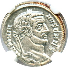 Image of AD 305-311 Galerius AR Argenteus NGC AU (Ancient Roman) Strike:5/5; Surface 5/5