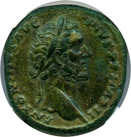 Image of AD 138-161 Antoninus Pius AE Sestertius NGC XF (Ancient Roman) Strike:5/5; Surface 3/5