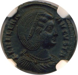 Image of AD 324-328/30 Helena AE3 (Bi Nummus) NGC Ch AU (Ancient Roman) Strike:4/5; Surface 4/5