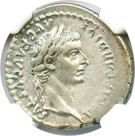 Image of AD 14-37 Tribute Penny Denarius NGC Ch XF (Ancient Roman) Strike:5/5; Surface 5/5