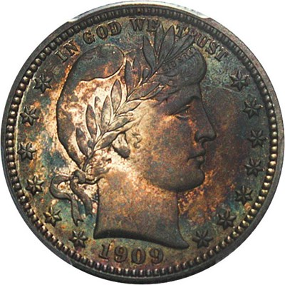 Image of 1909 25c PCGS Proof 66 - Rich Colorful Toning - No Reserve!