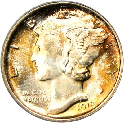 Image of 1918-D 10c PCGS MS65 FB - Grade Rarity Gem
