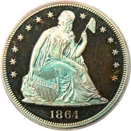 Image of 1864 Pattern $1 PCGS/CAC Proof 66 BN (J-397)