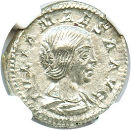 Image of AD 218-224/5 Julia Maesa AR Denarius NGC AU (Ancient Roman) Strike:3/5; Surface 3/5