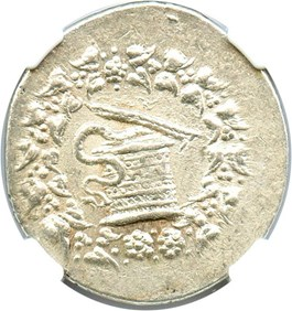 Image of 166-128 BC Tralles AR Cistophorus NGC Choice XF (Ancient Greek) Strike:5/5; Surface 3/5