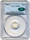 Image of 1862/1 3cS PCGS/CAC MS66