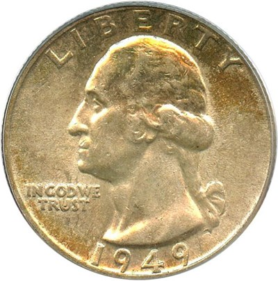 Image of 1949 25c PCGS AU58 * Color *
