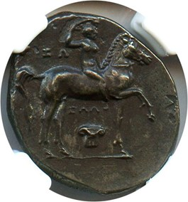 Image of after 281 BC Taras AR Didrachm NGC Choice XF (Ancient Roman) Strike:4/5; Surface 4/5