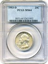 Image of 1953-D 25c PCGS MS64