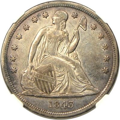 Image of 1843 $1 NGC AU53