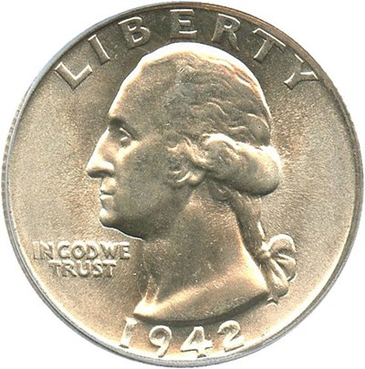Image of 1942-S 25c PCGS MS66