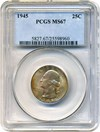 Image of 1945 25c PCGS MS67 - Amazing Multicolor Two-Sided Toning