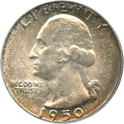 Image of 1950 25c PCGS MS67 - Colorful Toning