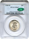 Image of 1945-D 25c PCGS/CAC MS67