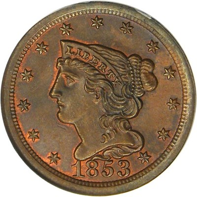Image of 1853 1/2c PCGS MS65 BN