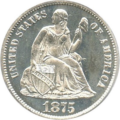 Image of 1875 10c PCGS/CAC Proof 65 Cameo  - No Reserve!