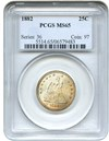 Image of 1882 25c PCGS MS65 - Low Mintage Philadelphia Issue - No Reserve!