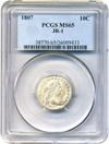 Image of 1807 10c PCGS MS65 (JR-1) - Gem Draped Bust Dime Grade Rarity