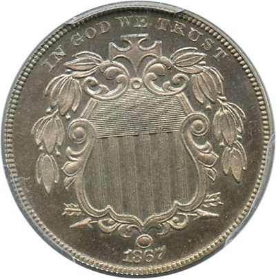 Image of 1867 5c PCGS/CAC Proof 65 (No Rays) - No Reserve!