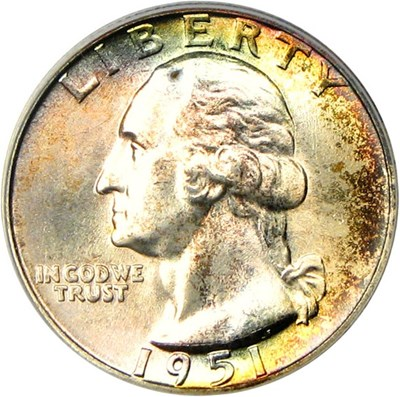 Image of 1951-D 25c PCGS/CAC MS67 - Wonderful Pastel Album Toning