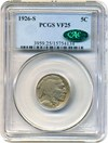 Image of 1926-S 5c PCGS/CAC VF25 - Key Date